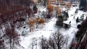 Zima w parku Oruńskim z lotu ptaka