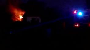 Pożar altanki na działkach w Brzeźnie