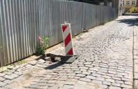 Zapadnięty fragment ul. Kleszej w Gdańsku