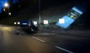 Skutki wypadku na węźle Kwiatkowskiego w Gdyni