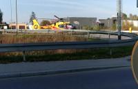 Śmigłowiec LPR ląduje przy rondzie na Budowlanych
