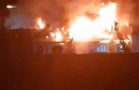 Nocny pożar budynku Gedanii we Wrzeszczu