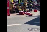 Wypadek motocyklisty z dostawczakiem na Brodwinie