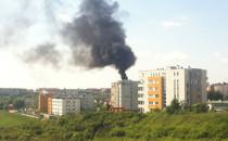 Pożar dachu budynku na Chełmie