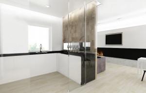 Aranżacje wnętrz. Kuchnia oddzielona szklaną ścianą