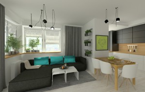 Połączenie pokoju i kuchni daje przestrzeń