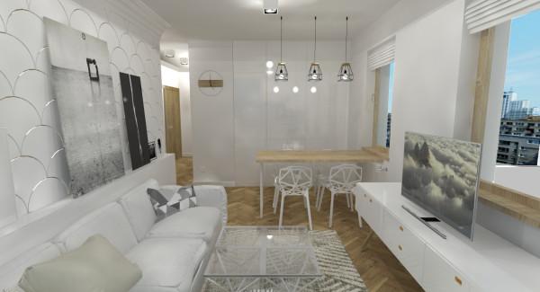 Mały pokój z aneksem. Kuchnia całkowcie ukryta w zabudowie; aranżacja, wnętrze, projekt, pokój ...