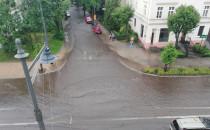 Zalane ulice po burzy w Trójmieście