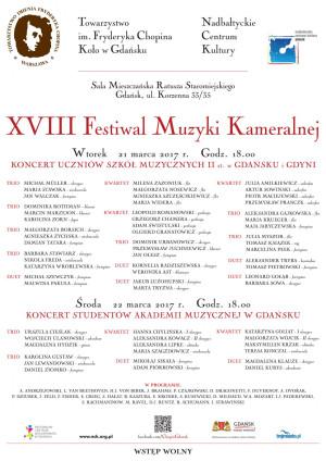 XVIII Festiwal Muzyki Kameralnej