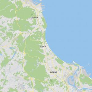 Mapa Trojmiasta Gdansk Sopot Gdynia