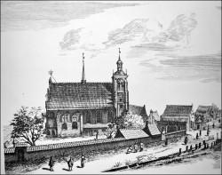 Tak przed wiekami wyglądał kościół św. Bartłomieja.