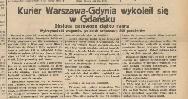 Informacja o katastrofie kolejowej w Gazecie Gdańskiej.