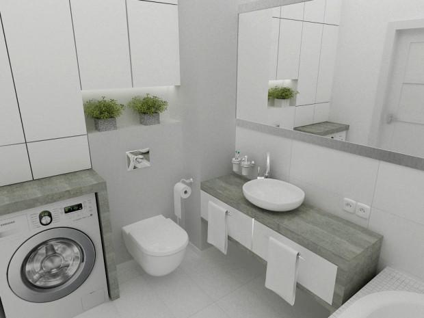 Koncepcja pierwsza. Pojemna, praktyczna zabudowa ściany nad toaletą nie przytłacza gabarytami i wpisuje się w architekturę pomieszczenia.