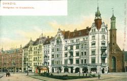 Nieistniejący już dziś ciąg budynków w pobliżu kościoła św. Elżbiety. Pocztówka wydana w 1904 r.