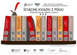 Takie plakaty zawisną w 35 gdańskich tramwajach Pesa. Po zeskanowaniu kodu QR będzie można ściągnąć książkę na swój telefon.