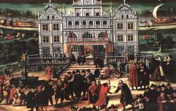 """Fontanna Neptuna na obrazie I. van den Blocke pt. """"Alegoria handlu gdańskiego"""" z 1608 r."""