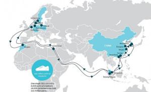 Trasa rejsu, jaki właśnie odbywa Maersk Mc-Kinney Møller. 15 lipca wypłynął z koreańskiego Busan, 21 sierpnia zawinie do portu w Gdańsku.