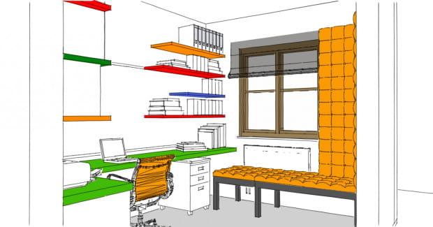Koncepcja trzecia. Wnętrze w stylu pop. Poza dużym blatem do pracy we wnętrzu przewidziano wygodną ławę z miejscem do chwili odpoczynku od pracy przy komputerze.