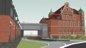 Połączenie pomiędzy przychodnią a nadbudowaną Ekspedycją oraz jeden z wjazdów do parkingu podziemnego.