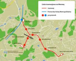 Planowana linia na z Siedlec na Morenę.