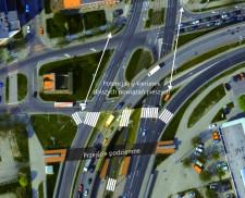 Tak mógłby wyglądać rejon Bramy Żuławskiej po wprowadzeniu przejść naziemnych. Docelowo należałoby również pomyśleć o wykonaniu przejść w kierunku północnym, aby lepiej zintegrować obszar ul. Siennickiej z przystankiem tramwajowym.