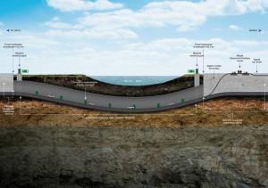 Przekrój podłużny przez tunel pod Martwą Wisłą.