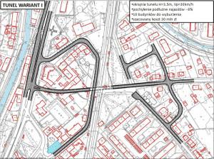 Pierwszy wariant tunelu proponowany przez miasto, który miałby zastąpić dotychczasowy przejazd kolejowy w ul. Smętnej.