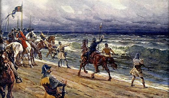 """Pisał Jan Długosz: """"...wszystko wojsko, tak konne jako i piesze, rzuciwszy się w bród morski jak tylko mogło najgłębiej, po falach wyprawiało sobie gonitwy; harcowali jedni z drugimi, i przez długi czas bawili się taką igraszką. Wielu zaś spomiędzy Czechów nalewało wodę morską w flaszki, i zaniosło ją potem do swoich, na pamiątkę tak dalekiej wyprawy."""" Obraz Adolfa Liebschera pt. """"Czesi nad Bałtykiem""""."""