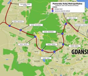Budowany odcinek Pomorskiej Kolei Metropolitalnej na terenie Gdańska.