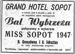 Wybory Miss Sopot 1947 były reklamowane w prasie. Kto mógł przypuszczać, że skończą się skandalem?