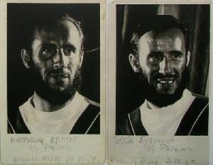"""Bracia Mieczysław i Piotr Ejsmont na zdjęciach dokumentujących pobyt jachtu """"Polonia"""" w Buenos Aires."""