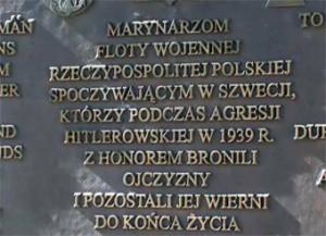 Tablica upamiętniająca pobyt polskich marynarzy w szwedzkim Mariefred.