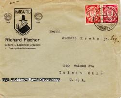 Tak z kolei wyglądała koperta z logiem browaru. List adresowany jest do mieszkańca USA.