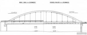 Wiadukt łukowy pozwoli na bezkolizyjne pokonanie torów dalekobieżnych przez pociągi w stronę portu lotniczego. Rysunek techniczny pokazuje jednocześnie dwie perspektywy, dlatego też barierki nie są uwidocznione na całej długości.