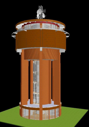 Wizualizacja wieży ciśnień.