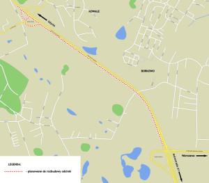 Planowana rozbudowa Obwodnicy Trójmiasta w rejonie Kowal i Borkowa.