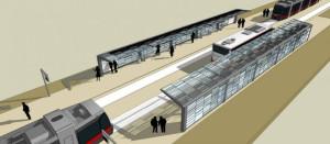 Planowany przystanek Warneńska. Zatrzymają się przy nim tramwaje oraz autobusy.