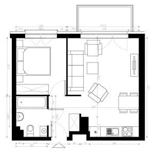 Deweloperska propozycja aranżacji łazienki i całego mieszkania.