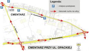 Organizacja ruchu przy cmentarzu na ul. Opackiej.