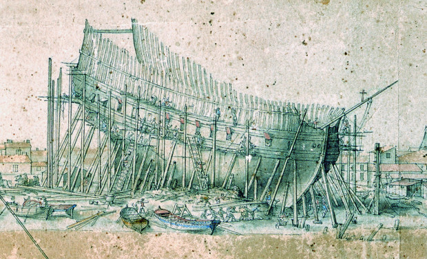 Statek w budowie, rysunek przedstawiający pracę we francuskiej stoczni w Rochefort nad Atlantykiem. Ze zbiorów muzeum Sztuki i Historii w Rochefort.