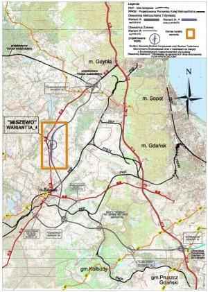 Przebieg Obwodnicy Metropolitalnej wraz z dodatkowym wariantem w rejonie Miszewa i Banina.