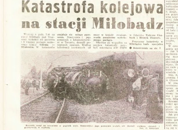 """Informacja o katastrofie kolejowej w """"Dzienniku Bałtyckim"""" z 7 lipca 1972 r."""
