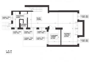 Aktualny rozkład i powierzchnia pomieszczeń.