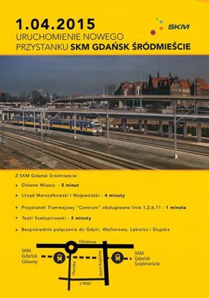 Plakat informujący o zmianach w ruchu SKM.