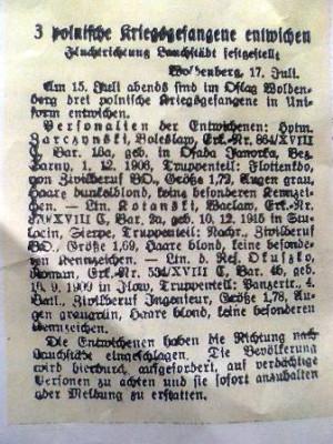 """Zdjęcie listu gończego pochodzi z 64 strony książki """"Oflag IIc Woldenberg"""" J. Bohatkiewicza z 1971 r."""