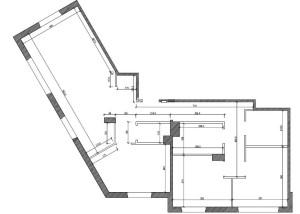 Rozkład mieszkania proponowany przez dewelopera po połączeniu dwóch mieszkań.