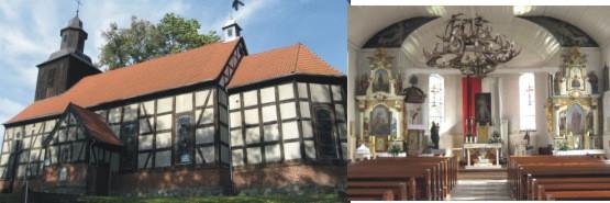 Mechowo i piękny ryglowy kościół z 1742 roku oraz jego barokowy wystrój