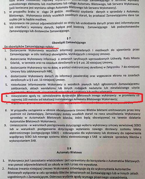 Umowa między ZTM a firmą Avista, w której znalazł się sporny warunek (punkt 6 w Obowiązkach Zamawiającego).