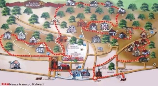Mapka Kalwarii Wejherowskiej i nasza trasa