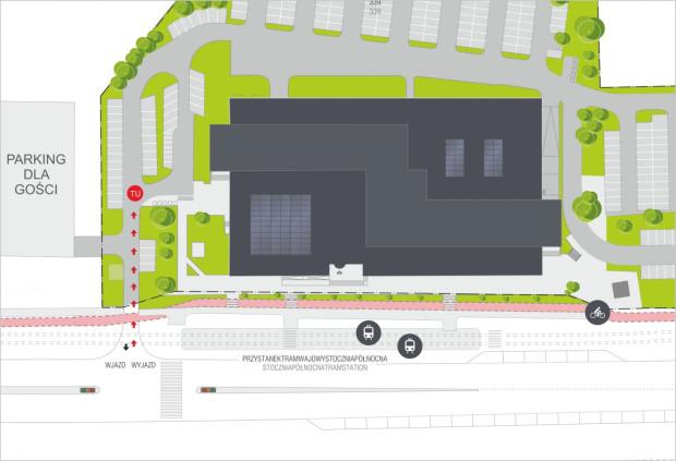 Na mapce oznaczono miejsce zbiórki (punkt TU) oraz parking, na którym można pozostawić auto.